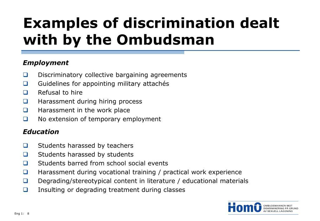 Examples of discrimination dealt with by the Ombudsman