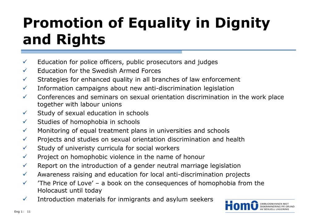 Promotion of Equality in Dignity and Rights