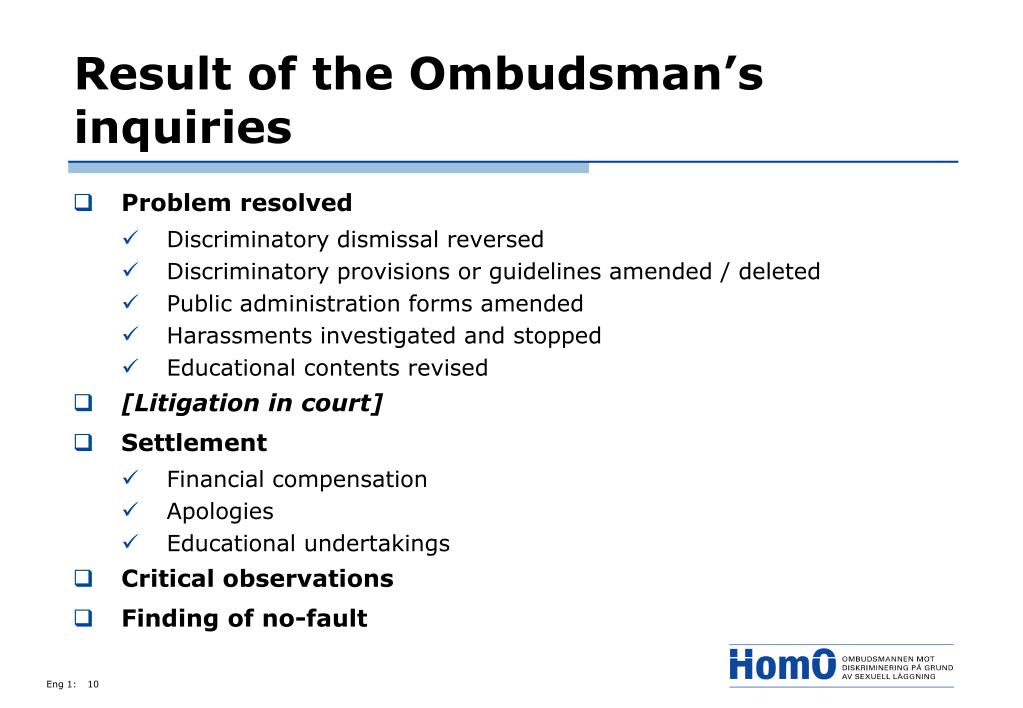 Result of the Ombudsman's inquiries