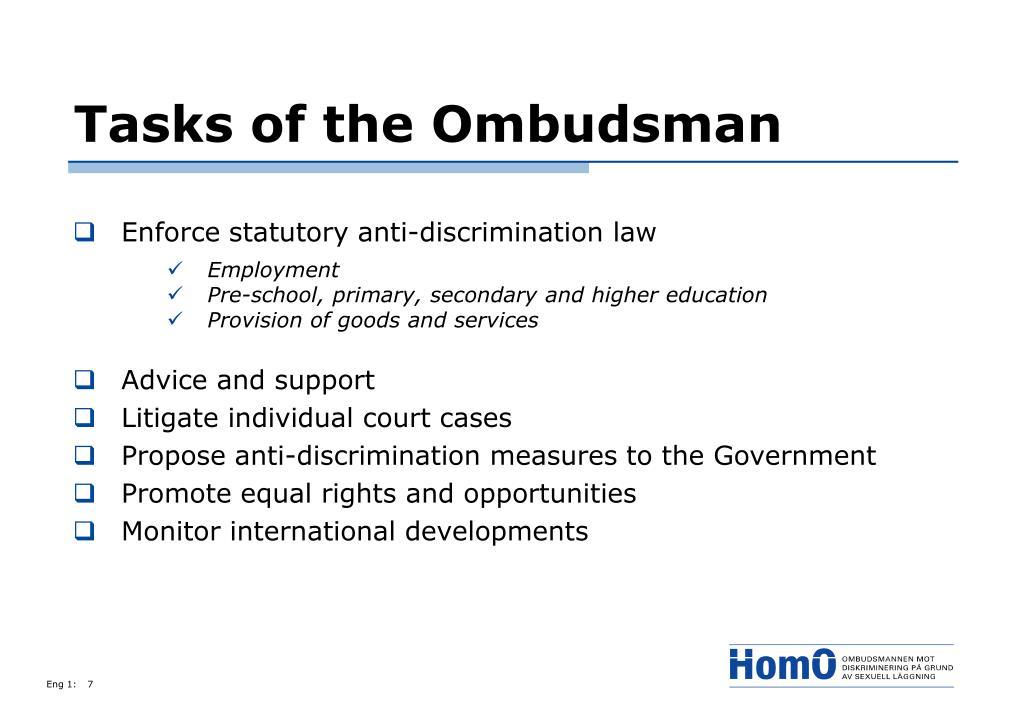 Tasks of the Ombudsman