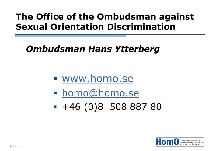 the office of the ombudsman against sexual orientation discrimination n.