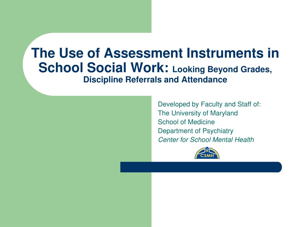 The Use of Assessment Instruments in School Social Work: