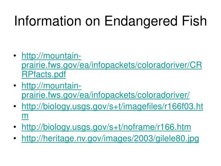 Information on Endangered Fish