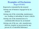 examples of exclusions pages 678 681
