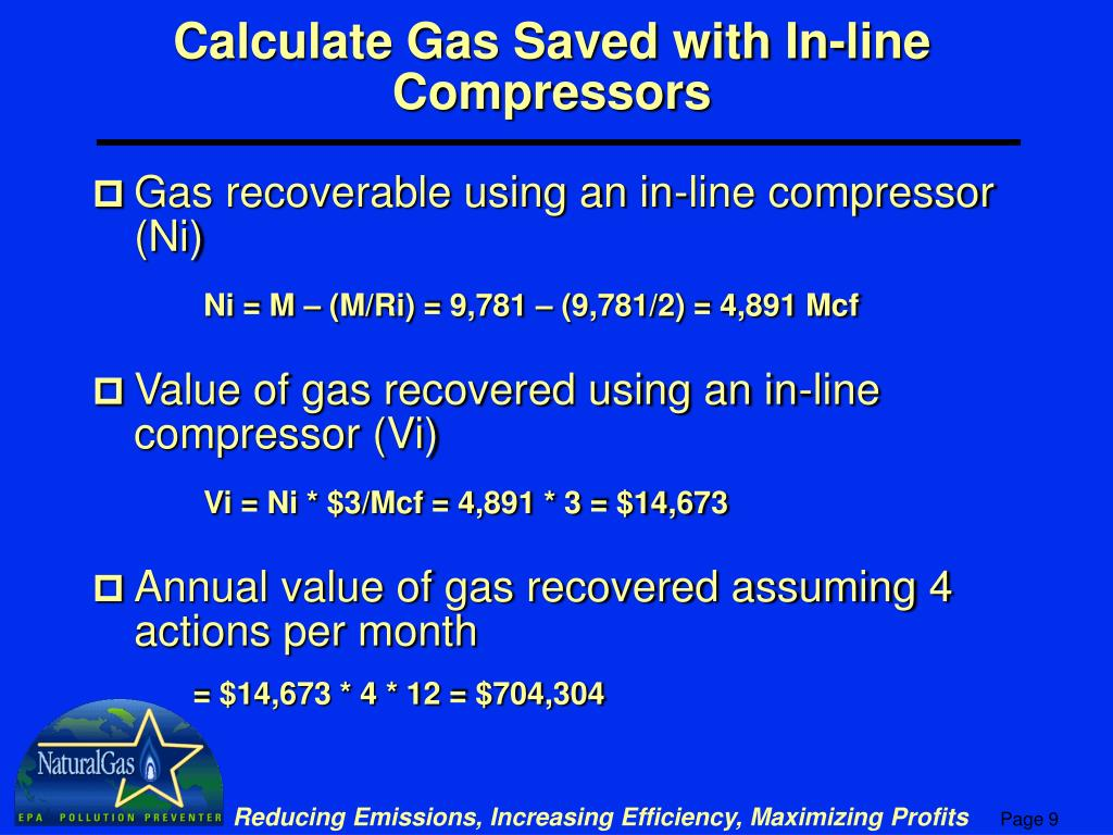 Calculate Gas Saved with In-line Compressors