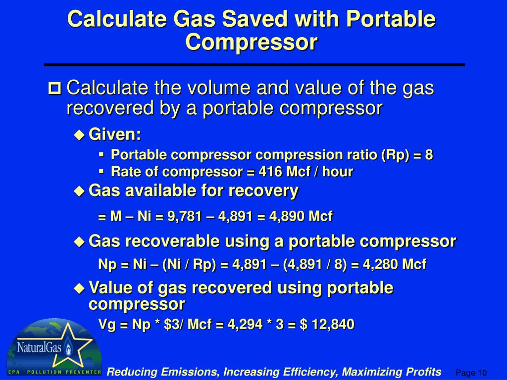 Calculate Gas Saved with Portable Compressor