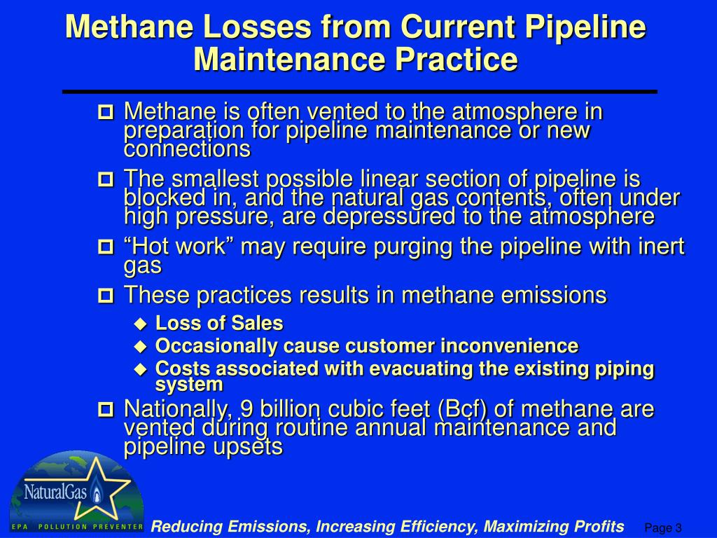 Methane Losses from Current Pipeline Maintenance Practice