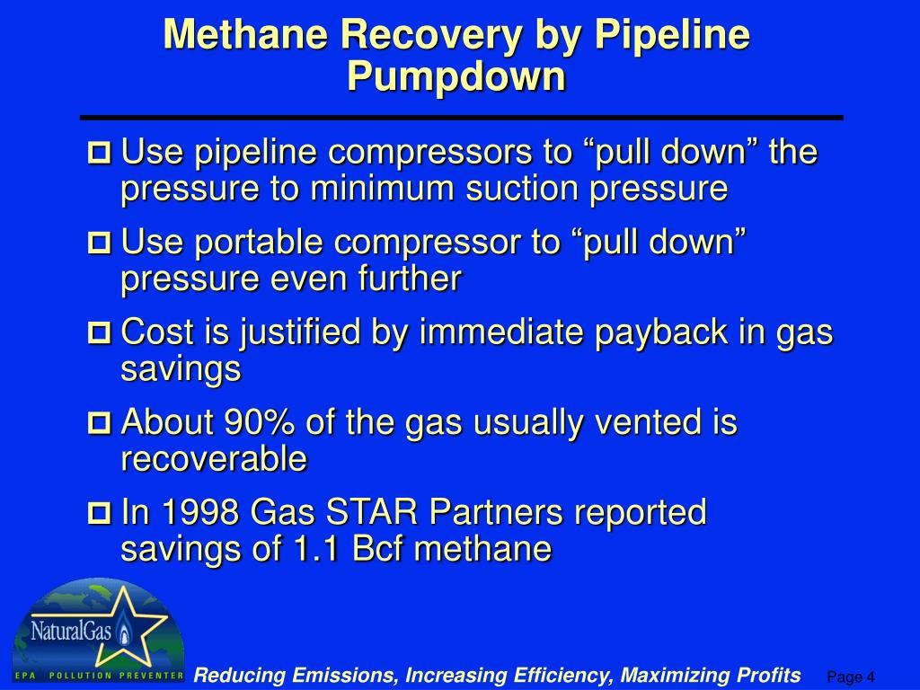 Methane Recovery by Pipeline Pumpdown