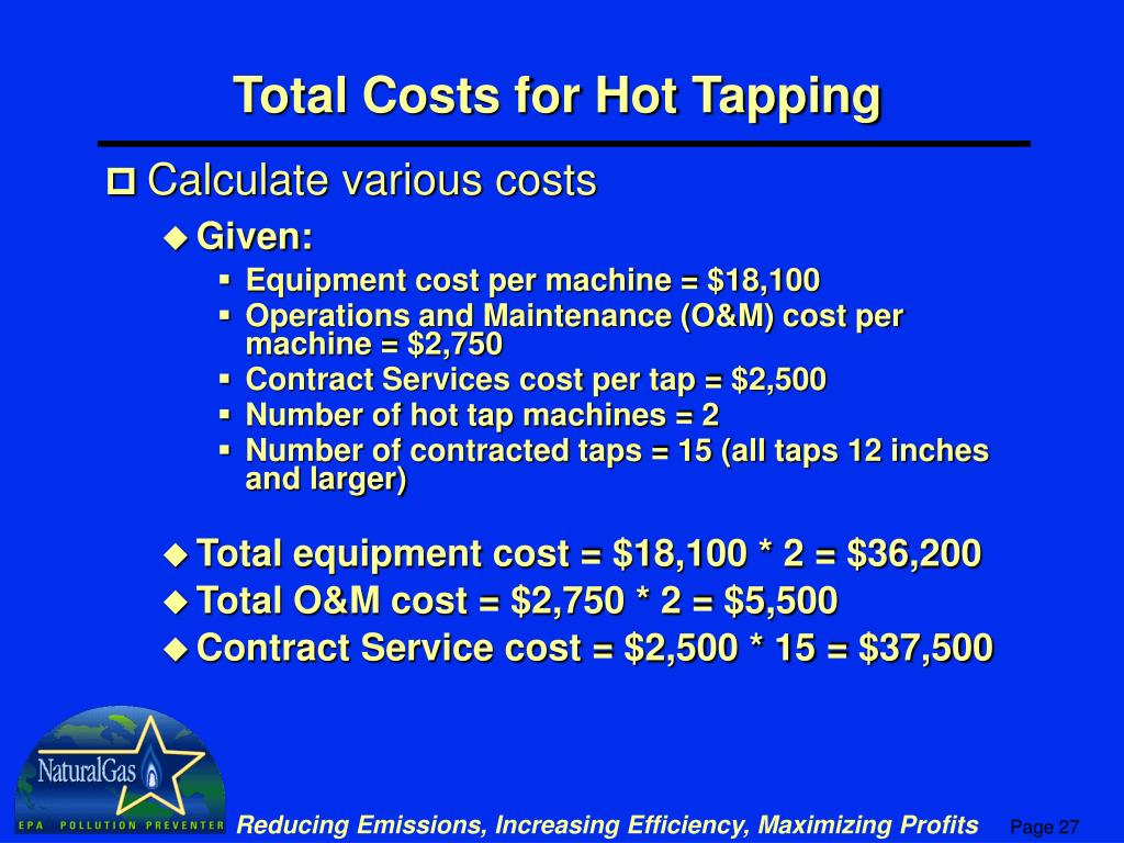 Total Costs for Hot Tapping