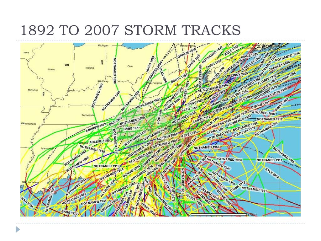 1892 TO 2007 STORM TRACKS