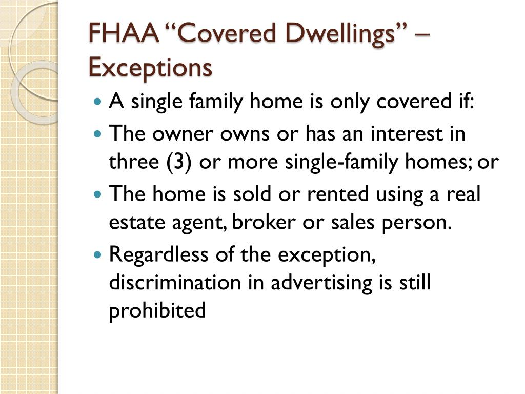 """FHAA """"Covered Dwellings"""" – Exceptions"""