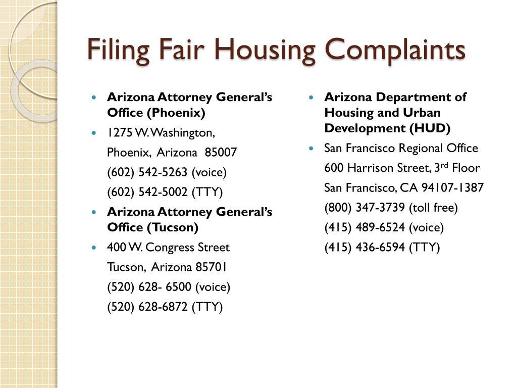 Filing Fair Housing Complaints