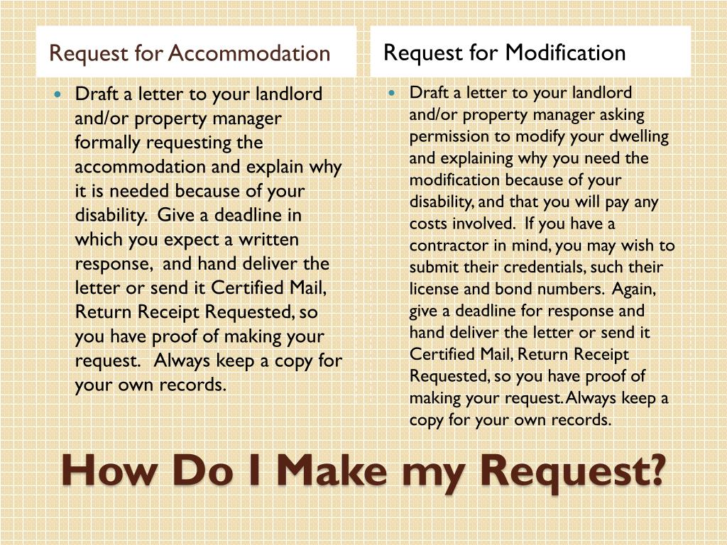 Request for Accommodation