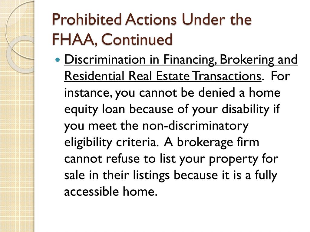Prohibited Actions Under the FHAA, Continued