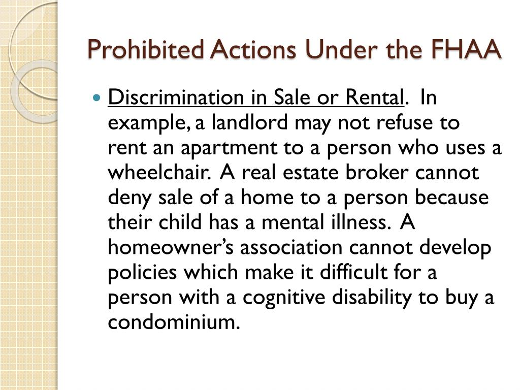 Prohibited Actions Under the FHAA