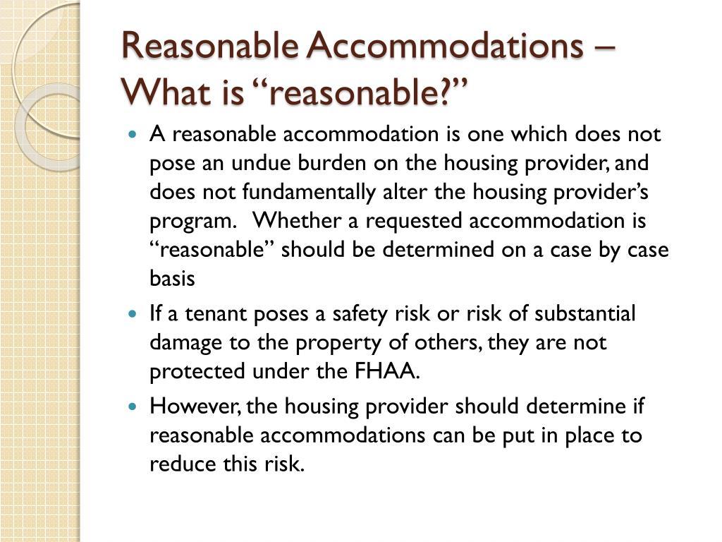 Reasonable Accommodations –