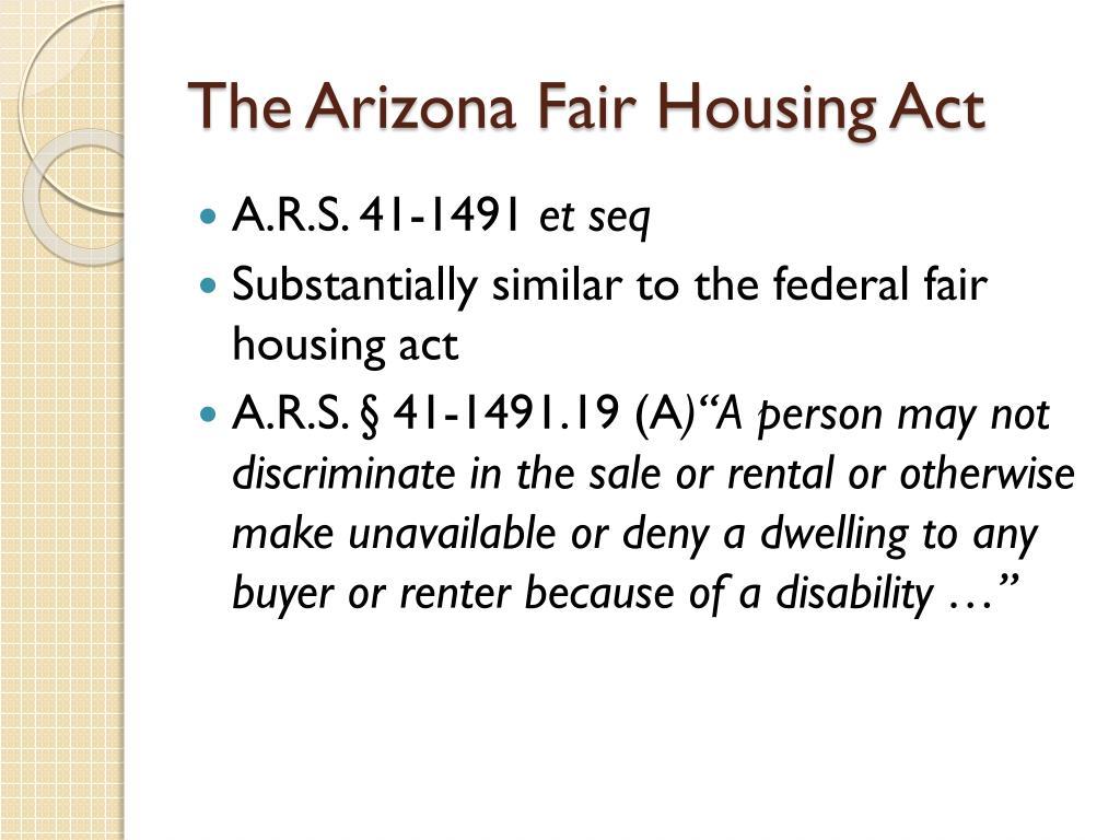 The Arizona Fair Housing Act
