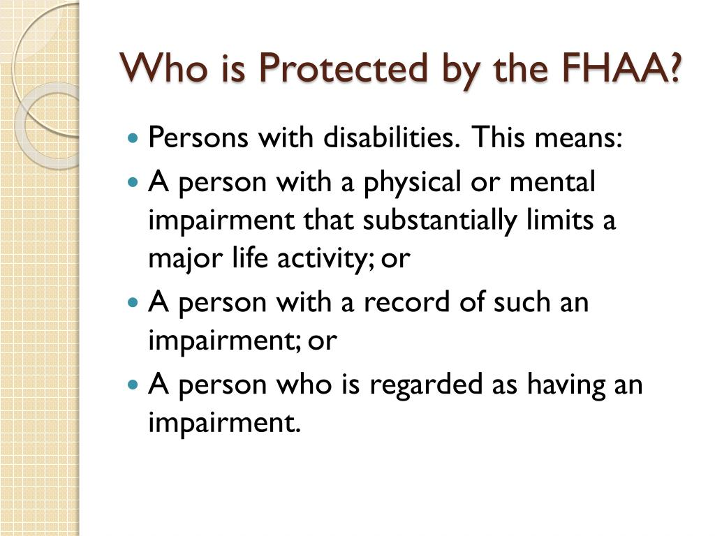Who is Protected by the FHAA?