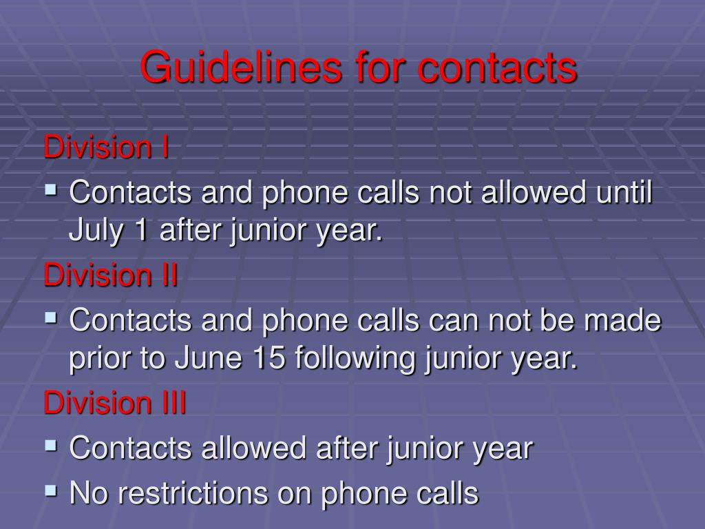 Guidelines for contacts