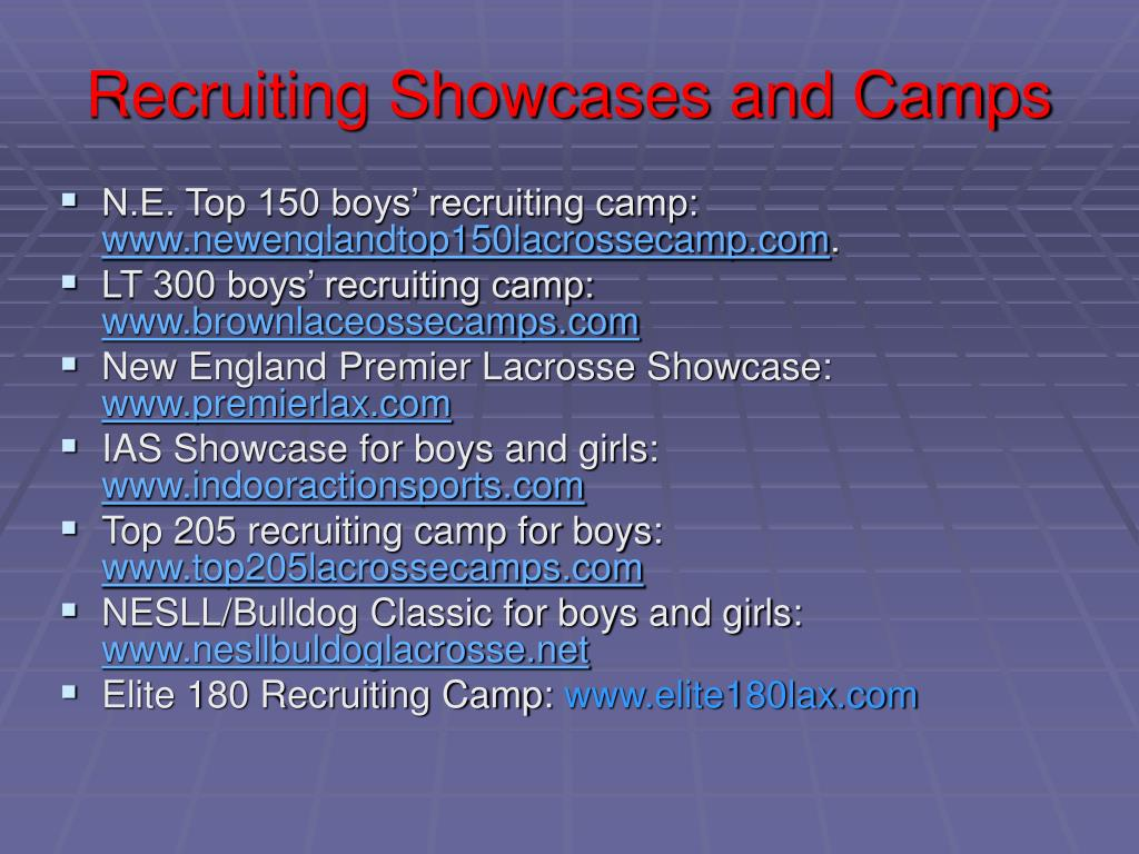 Recruiting Showcases and Camps