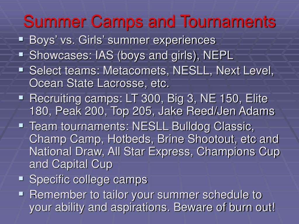 Summer Camps and Tournaments