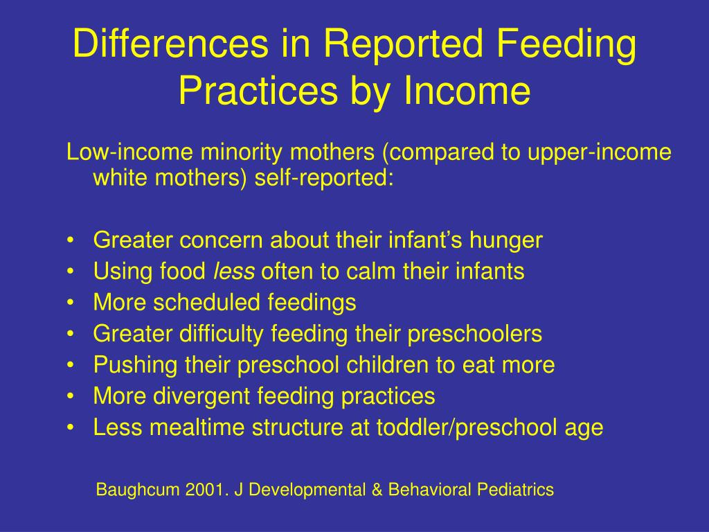 Differences in Reported Feeding Practices by Income