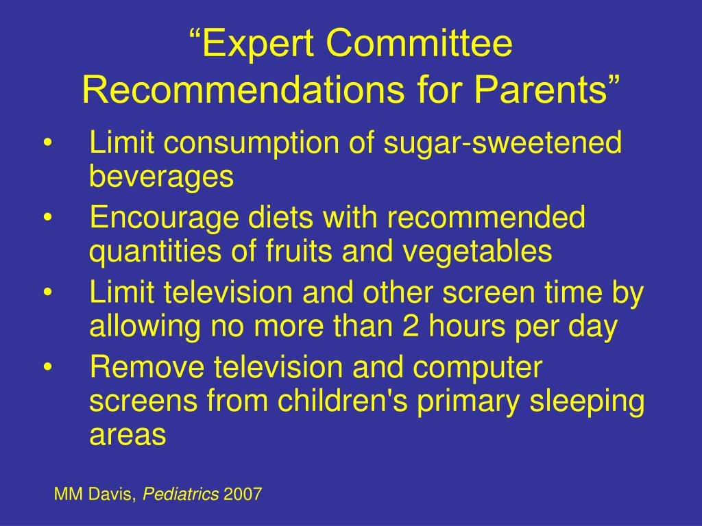 """Expert Committee Recommendations for Parents"""