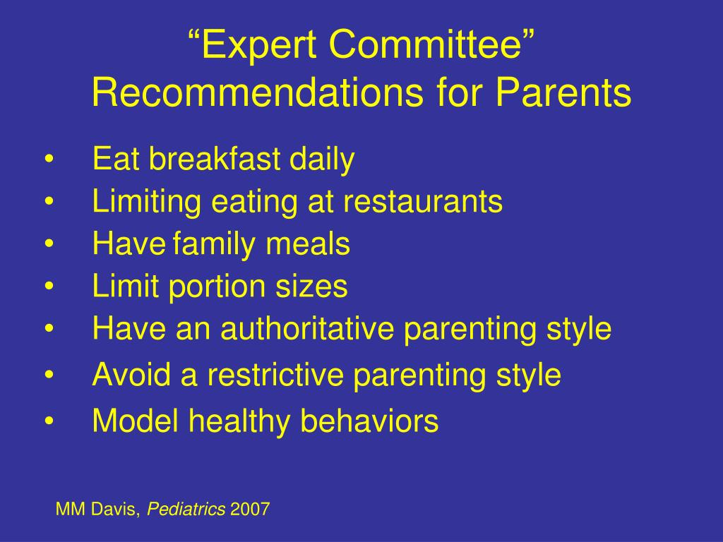 """Expert Committee"" Recommendations for Parents"