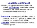 usability continued