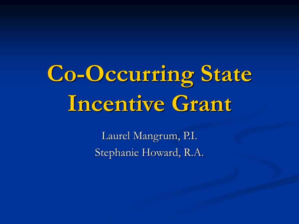 Co-Occurring State Incentive Grant