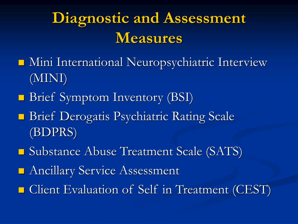 Diagnostic and Assessment Measures