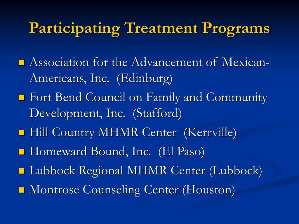 Participating Treatment Programs