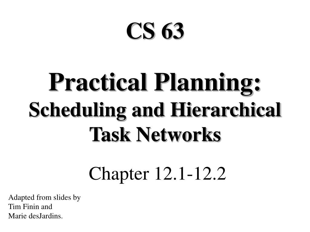 practical planning scheduling and hierarchical task networks l.