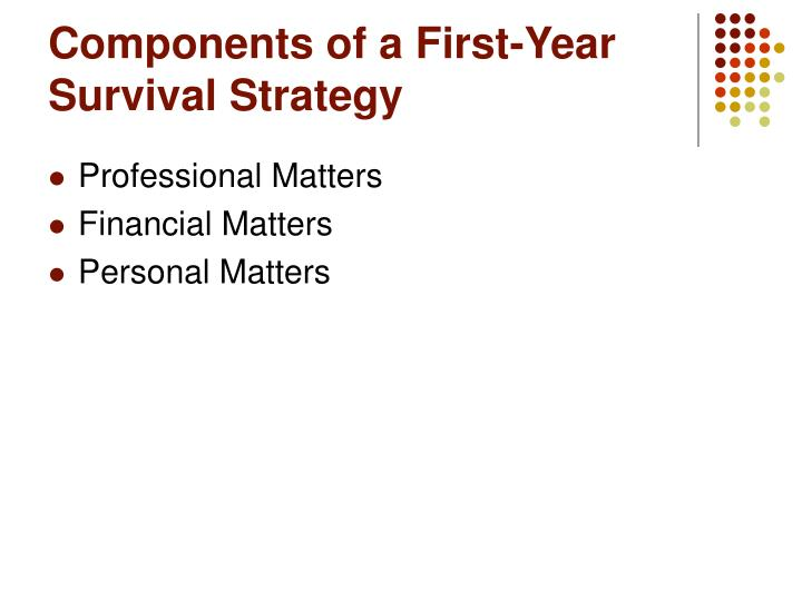 Components of a First-Year Survival Strategy
