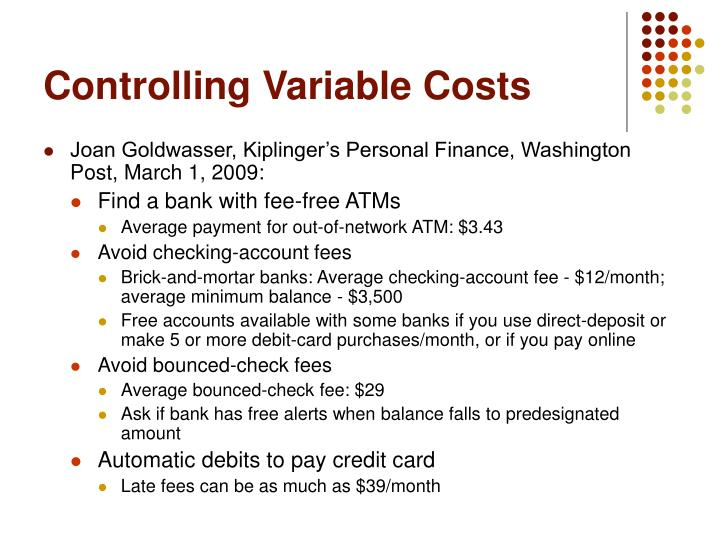Controlling Variable Costs