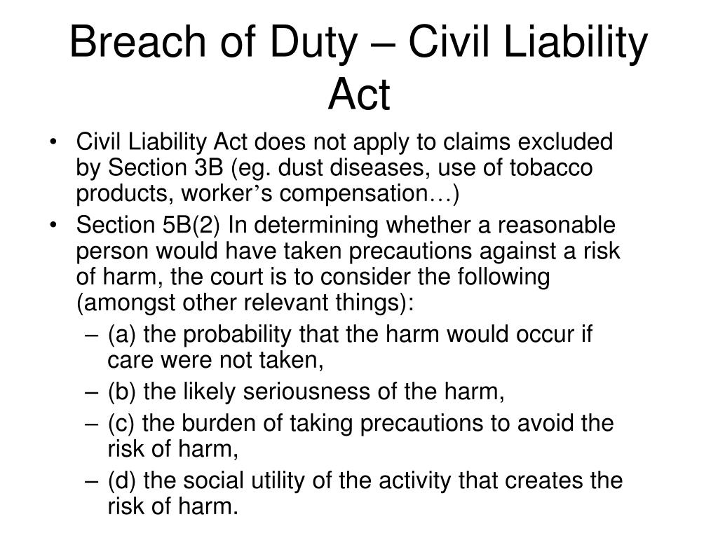 Breach of Duty – Civil Liability Act