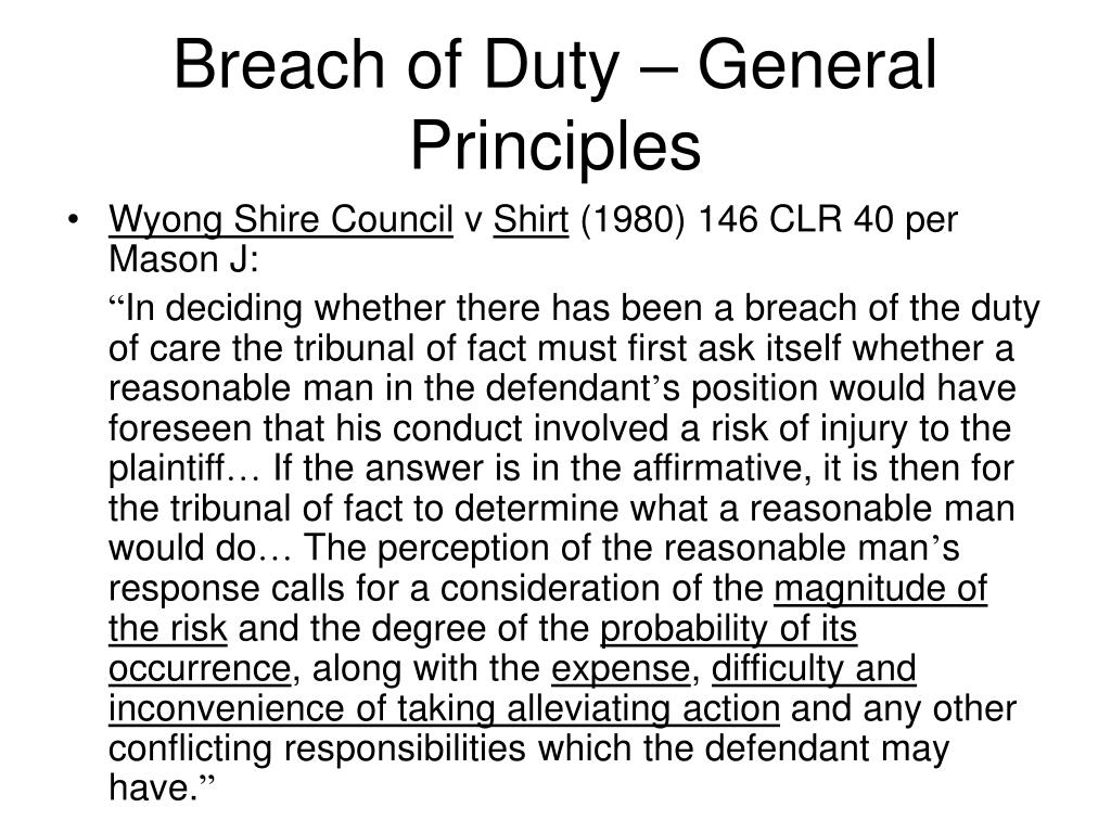 Breach of Duty – General Principles