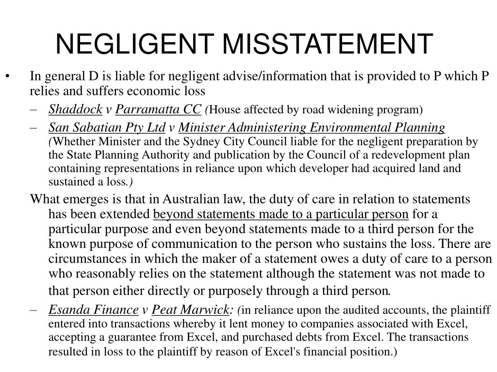NEGLIGENT MISSTATEMENT