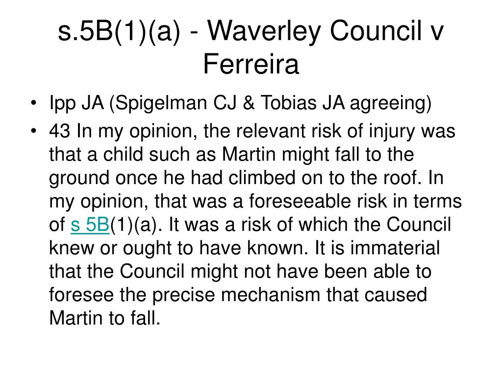 s.5B(1)(a) - Waverley Council v Ferreira