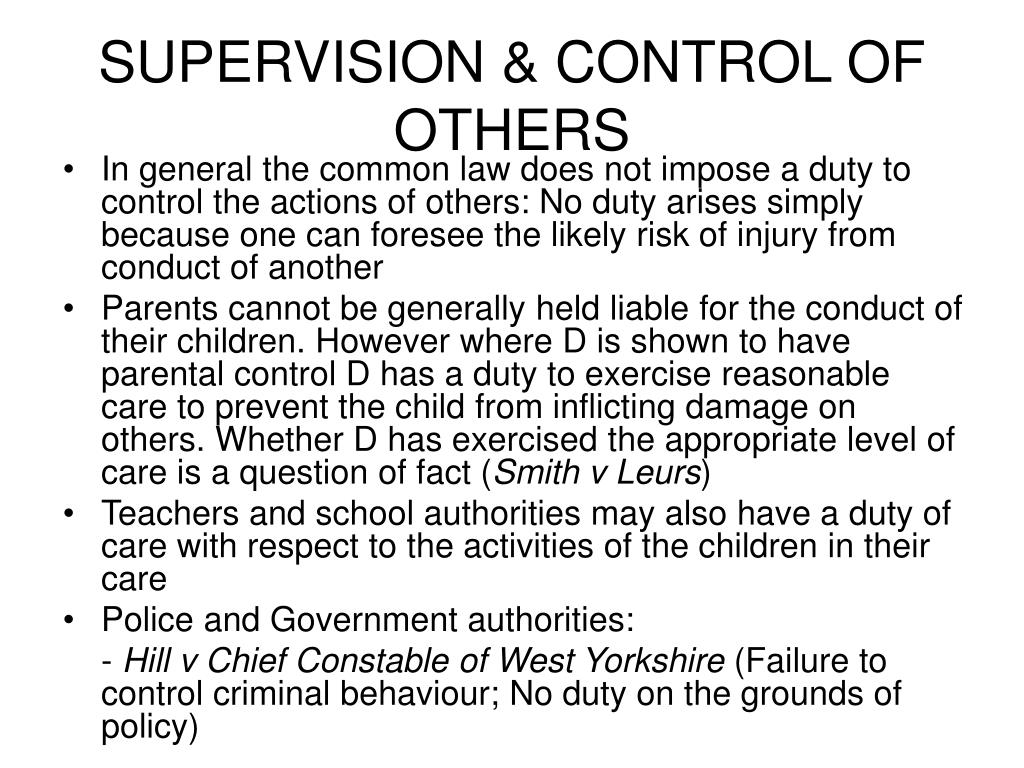 SUPERVISION & CONTROL OF OTHERS