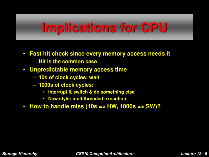 Implications for CPU