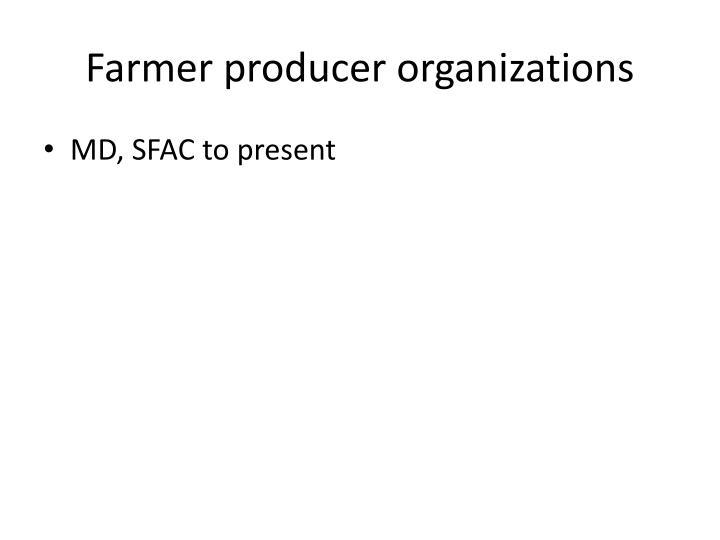 Farmer producer organizations