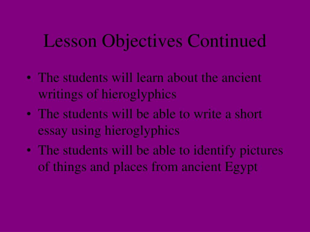 Lesson Objectives Continued