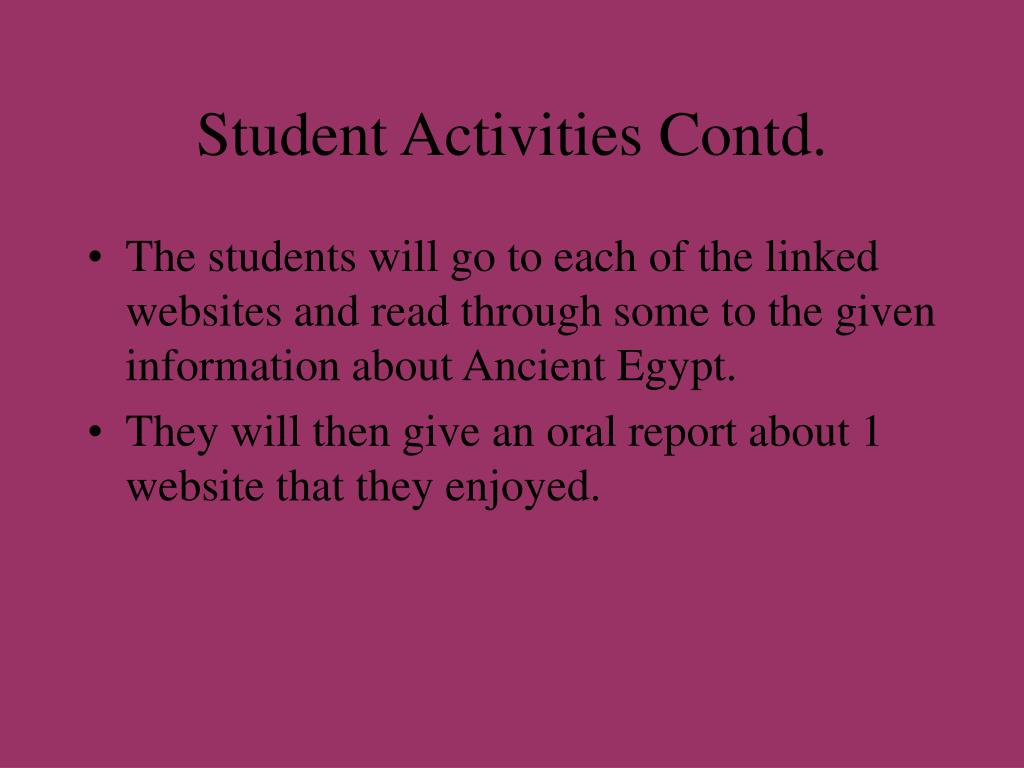 Student Activities Contd.