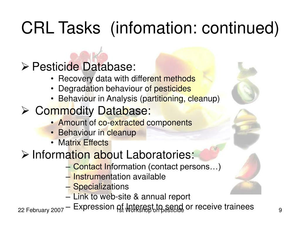 CRL Tasks  (infomation: continued)