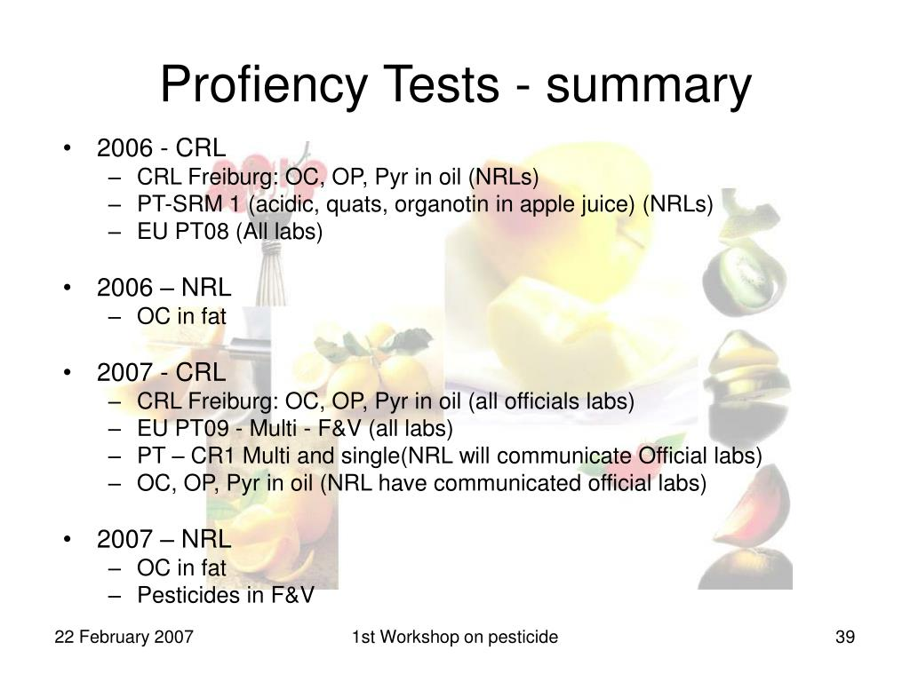 Profiency Tests - summary
