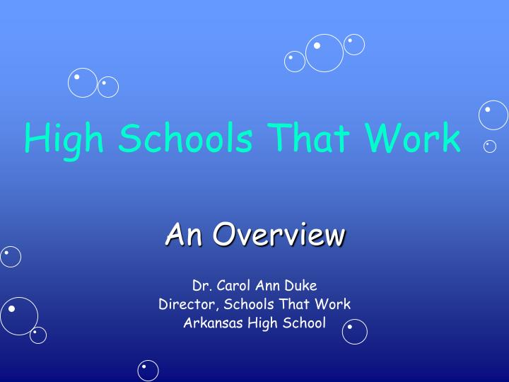 High schools that work