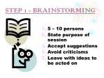 step 1 brainstorming