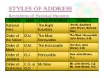styles of address recipients of national honours