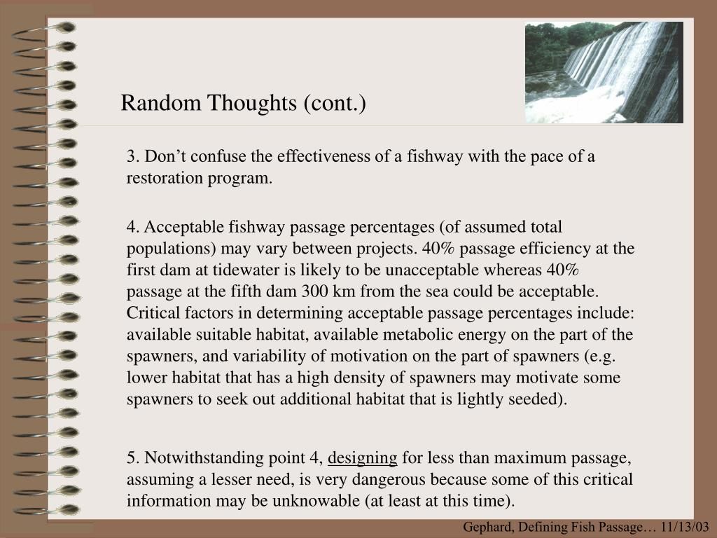 Random Thoughts (cont.)